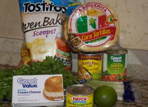 Enchiladas ingredients + Baked Tostitos